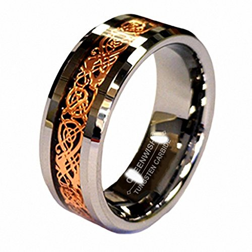 18K Rosen Gold Überzug Keltischer Drache Rille 8mm Wolframkarbid Hochzeitsband Verlobungsring with Ringschachtel Größe 8.5 (Art-damen-ringer)