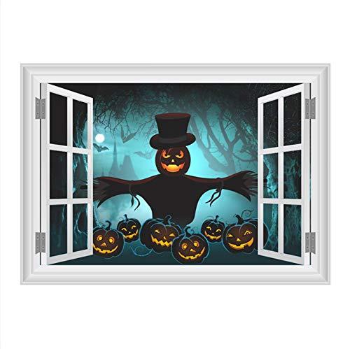 LXHLXN Kürbis Laterne Vogelscheuche Dark Forest Wandaufkleber Halloween Raumdekoration 3D Gefälschte Fenster Home PVC Festival Wandbild Kunst Decals 60x90 cm