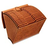 #5: Globe-Weis Heavy Duty Expanding File with Flap and Cord Closure, 21 Pockets, A-Z, 1/3 Cut Tabs, Letter Size, Brown (R117ALHD)