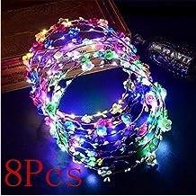 9da335f268af4f Gwill 8Pcs LED Glühen Blinkende Tiara Rattan blinkt mit 10 LEDs 10 Blumen Bunte  Stirnbänder Blumen