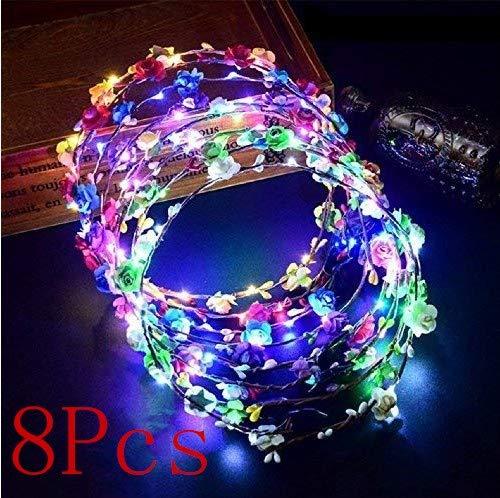Gwill 8Pcs LED Glühen Blinkende Tiara Rattan blinkt mit 10 LEDs 10 Blumen Bunte Stirnbänder Blumen Haarband Hawaii Headwear Braut Kopf Kränze für Mädchen Frauen Party Decor