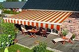 offene Spettmann Markise BASIS Gestell weiss, Stoff Orange/Weiss, Design 5903, in verschiedenen Größen (300 x 200 cm)