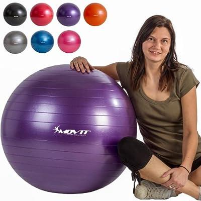 MOVIT® Gymnastikball inklusive Pumpe, 65cm bzw. 75cm, 7 Farben, Maximalbelastbarkeit bis 300kg, berstsicher von MOVIT®