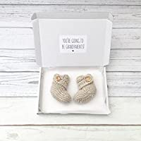 pregnancy announcement booties, gender neutral crochet baby booties, grandparents to be