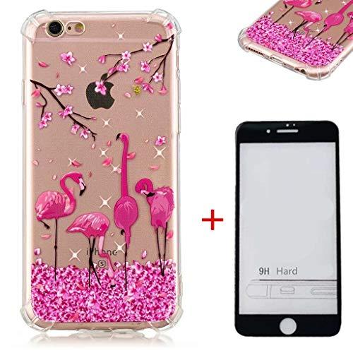 Phone 6/6S Hülle+5D gehärtetem Glas Transparent TPU Silikon Handyhülle Flexibel Anti-Kratzer Vier Eckluftkissen Schutzhülle Anti-Shock Bumper Cover(Flamingo) ()