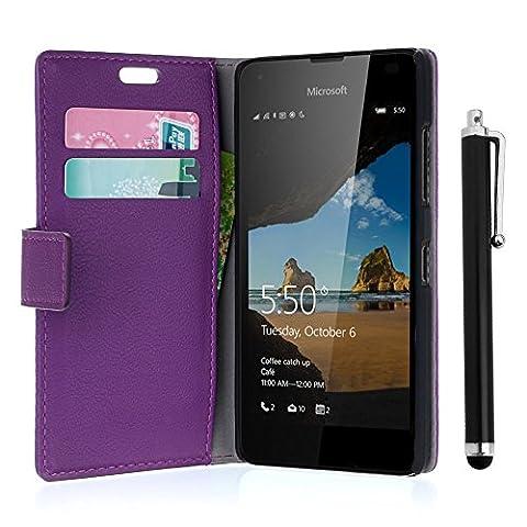 Etui Cuir Lumia 550 - zStarLn® violet Luxe Portefeuille Etui Housse pour
