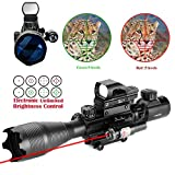 HMELOVE 4-16x50EG AR15 Tactical Rifle Scope Red/Green Illuminated Range Finder Reticle W/ Red(Green)