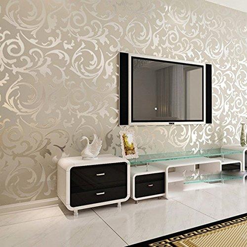 YC Foglie di acanto europeo semplice sfondo non-tessuto carta da parati camera da letto divano da parete a parete TV , pvc