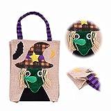 MingKun Einkaufstasche Shopper Bag Halloween Tasche Flax Leinen Party Süßigkeit Geschenkbeutel Tragetasche - Hexe