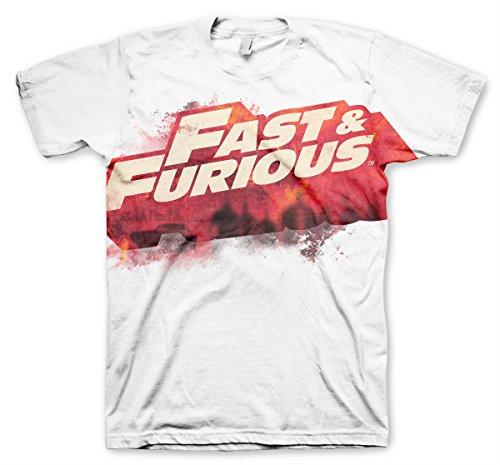 odukt The Fast & The Furious Logo Allover T-Shirt (Weiß), Large (Dwayne Johnson Messungen)
