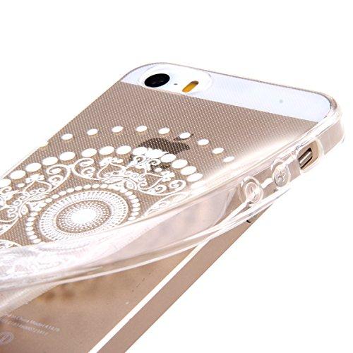Kakashop White Floral Paisley Flower Mandala TPU silicone souple transparent verre Coque Cover Case pour iPhone 5/5S (éléphant tribal) dot fleurs