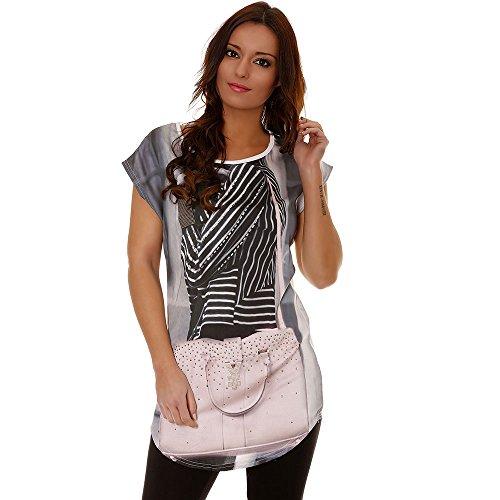 Miss Wear Line–Tee shirt weiß, Trompe Auge bedruckt Handtasche und Strass, Weiß, 2206.231.0415 (Strass-tee)