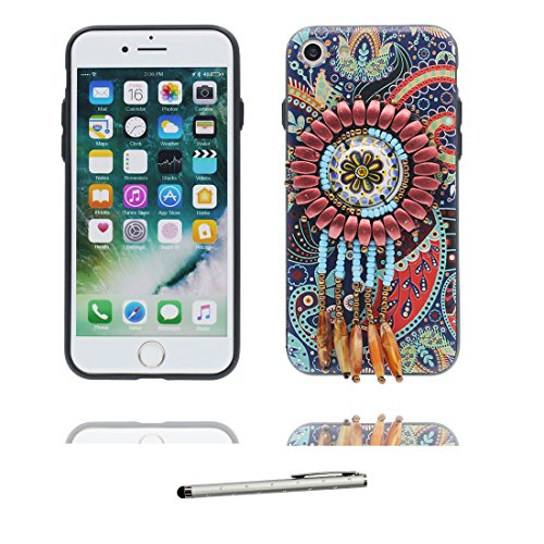 "iPhone 7 Hülle Cover, 3D Bead Zubehörteil, TPU Flexible Uniquedesigned Nationaler Stil Slim Bling iPhone 7 Handyhülle, iPhone 7 case 4.7"" Kratzer beständig & Touchstift # 5"