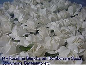 144 FIORELLINI ROSELLINE BIANCO per BOMBONIERE SPOSI COMUNIONE BATTESIMO