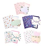 Funcoo 48 lovely cute Kawaii cancelleria scrittura Paper with 24 Envelope + 1 Sheet Label Seal sticker Style-1(8.3'' x 5.8'')
