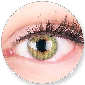 Glamlens Kontaktlinsen farbig grün ohne und mit Stärke – mit Kontaktlinsenbehälter. Sehr stark deckende natürliche grüne farbige Monatslinsen Minzgrün 1 Paar weich Silikon Hydrogel