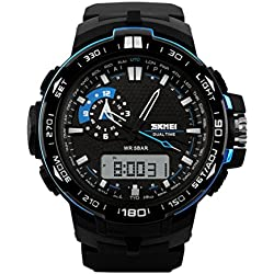 SKMEI Men's Multifunctional Outdoor Sports Waterproof Dual Time Digital Wrist Watch Blue SK1081A