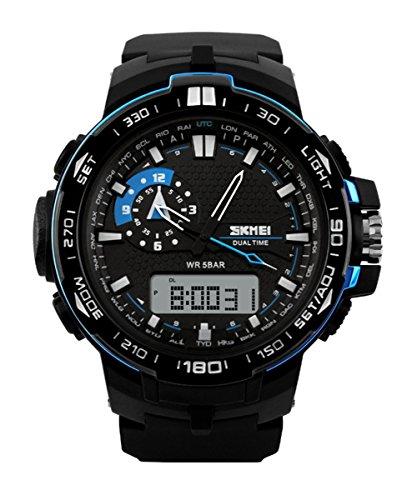 -Sport-Armbanduhr, multifunktional, für Outdoor-Sport, wasserdicht, doppelte Zeitzonenanzeige, digital, Blau, SK1081A (Veterans Day Band)
