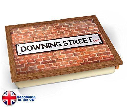 Downing Street UK Street Road Sign Cushion Lap Tray Kissen Tablett Knietablett Kissentablett - Holz Effekt Rahmen -