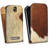 HTC One SV Tasche Hülle Flip Case Kuhfell Look Tiere Animals