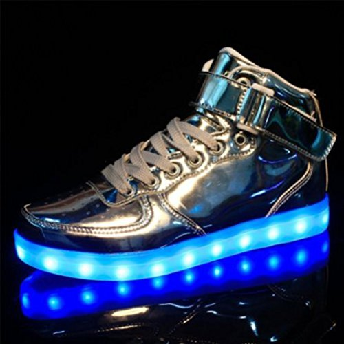 (Présents:petite serviette)JUNGLEST® Chaussures Lumineuse 7 Couleurs LED Rechargeable USB Baskets Sneak Argent