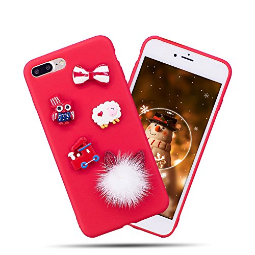 Einhorn Handyhülle iPhone 7 Plus, Einhorn iPhone 7 Plus Hülle, iPhone 7 Plus Hülle TPU Case, SpiritSun Silikon Weicher Gel Flexible Soft Hülle Schutzhülle Handy Schutzhülle TPU Bumper Rückseite Handy Tasche für Apple iPhone7 Plus/8 Plus(5.5 Zoll)-Fell Ball Ohren