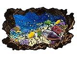 3D Wandtattoo Unterwasser Welt Korallen Fische Bild selbstklebend Wandbild sticker Wohnzimmer Wand Aufkleber 11H1045, Wandbild Größe F:ca. 97cmx57cm