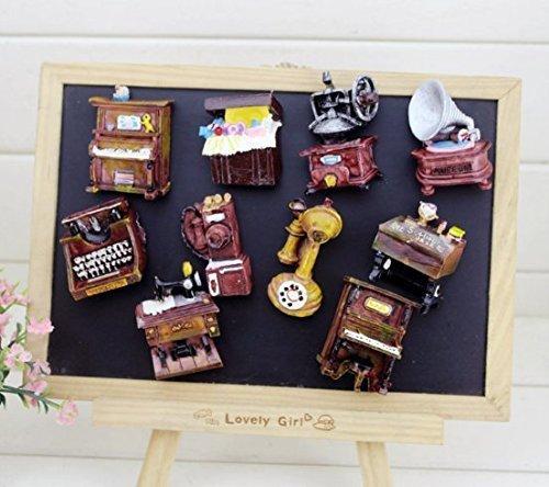 Uchic 4PCS Retro-Home Möbel musikalische begrenzt Kühlschrank Aufkleber kreative Geschenke Harz Handwerk Kühlschrank Magnetische Aufkleber für Home Kitchen positionert im Stil nach dem Zufallsprinzip (Stück Rosa Applique 2 Schmetterling)