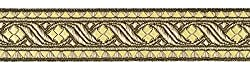 Ruther & Einenkel Borte Dekorationsband (Rombe) 30 mm, altgold Gold/Aufmachung 5 m, Viskose, Polyester, PE-Film, 500 x 3 x 0.1 cm