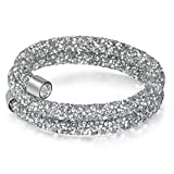 Sunwd Cuentas Pulsera Strand Bracelet For Women Men Jewelry Crystal Charms Bracelets & Bangles Costume Cuff Wristband Bijoux Femme New Silver-2 Layer