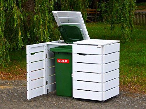 2er Mülltonnenbox / Mülltonnenverkleidung 120 L Holz, Deckend Geölt Weiß