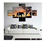 Lalang DIY ölgemälde Gemälde, Malen Nach Zahlen Kits digitales Ölgemälde-Sonnenuntergang und Elefant