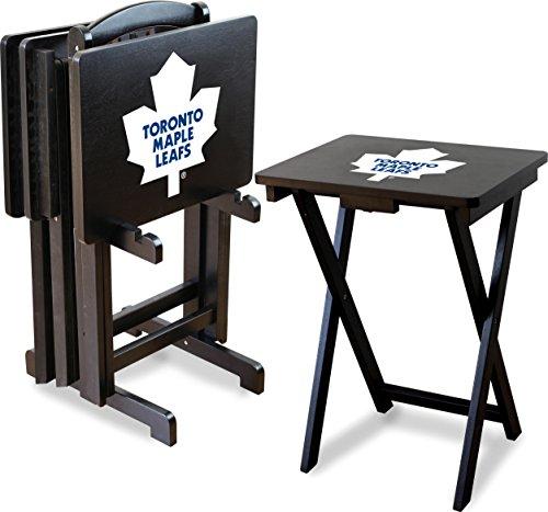 Imperial Offizielles Lizenzprodukt NHL Merchandise: faltbar Holz TV Tablett Tisch-Set mit Ständer, unisex, weiß (Glas Tisch-basen)