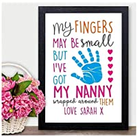 Christmas Gifts for NANNY NAN NANA GRANNY GRAN Personalised Xmas Presents - PERSONALISED with ANY NAME and ANY RECIPIENT - Black or White Framed A5, A4, A3 Prints or 18mm Wooden Blocks