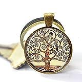 Gustav Klimt Tree Of Life Schlüsselanhänger, Baum des Lebens Schlüsselanhänger, Silber und Glas-Art Schlüsselanhänger