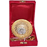 Crafticia Silver And Golden Plated Peacock Circular Bowl 4 Inch With Spoon Decorative Handicraft Gift Item Home Decor Showpiece
