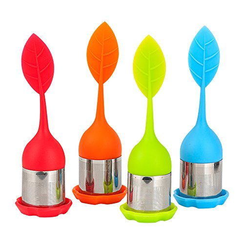 Filtro para té,COOCANKE Bolas infusoras kit de 4 colores tea infuser de acero inoxidable silicone (4pcs)