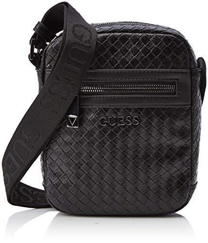 Guess Herren New Milano Mini Document Case messengerbag, Blau (BLACK BLA), 14.5x18x4 cm