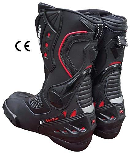 BIESSE - Stivali Stivaletto Moto, modello Sportivo Racing Pista, Pelle Professionale Traspirante, Omologati CE (Nero/Rosso, 45)