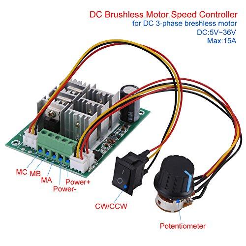 Motordrehzahlregler,DC-Motordrehzahlregler DC-Motortreiber-Modul, für bürstenlosen 3-Phasen-Motor und unterstützt den Motor CW CCW,DC5-36V,5A - 3-phasen-motor