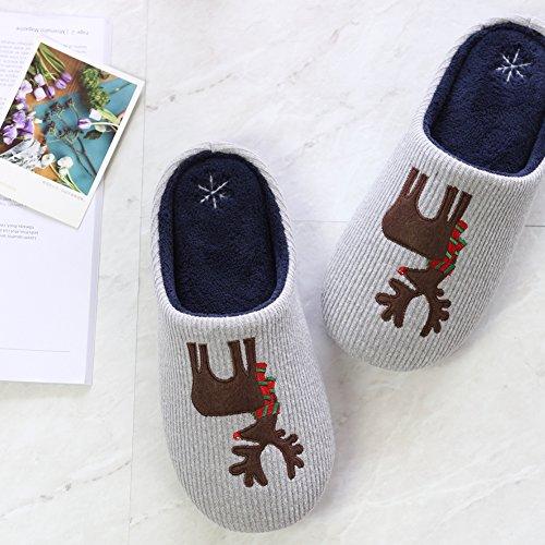 Cunguang Nordic Winter Weihnachten Elch velvet interior Hausschuhe, Männer und Frauen Paare cute cartoon Schlafzimmer Baumwolle ziehen, XL (42-44), Hellgrau