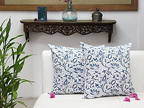 Fathers Day Gift Set of 2 Cushion Covers in Pure Cotton Floral Printed Throw Pillow Case Home Sofa