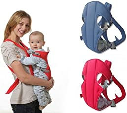Chinmay Kids Adjustable 4-in-1 Mini Carrier with Comfortable Head Support and Buckle Straps (Red)