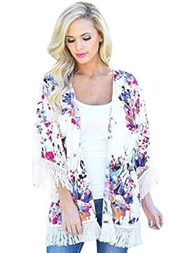 HARRYSTORE 2017 Flor de las mujeres del verano de la manera Blusa superior de la rebeca del kimono de la gasa...