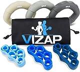 Vizap 6er-Set (70-90lb) Premium Handtrainer/Fingertrainern/Unterarmtrainer sind perfekt zur Stärkung der Hand- & Unterarmmuskeln - inkl. Finger Stretcher und einem hochwertigem Aufbewahrungsbeutel