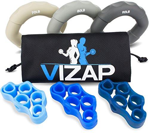 VIZAP® 6er-Set (70-90lb) Premium Handtrainer/ Fingertrainern/ Unterarmtrainer sind perfekt zur Stärkung der Hand- & Unterarmmuskeln - inkl. Finger Stretcher und einem hochwertigem Aufbewahrungsbeutel