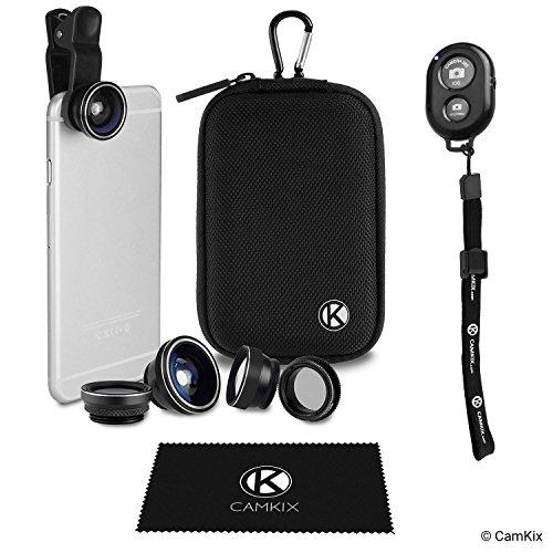 Galleria fotografica Kit Universale 5in1 Lenti Fotocamera e Telecomando Otturatore per Smartphone, include Telecomando Otturatore Fotocamera Bluetooth, Fish Eye, 2in1 Macro e Grandangolo, CPL e Teleobbiettivo 2x, Clip Lente, Custodia