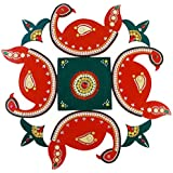 Wooden Rangoli Decoration,Home Decor 57 Cm X 1 Cm X 57Cm, Red And Green, Pack Of 9)