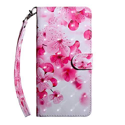 ftasche für Samsung Galaxy A40 5.9 Zoll,Luxuriös 3D Bling Material Elegant Pink Kirschblüte Muster PU Leder Hülle Tasche,Extra Dünn und Licht Rundumschutz Handycover + Schlüsselband ()