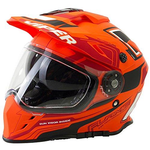 Motorrad-Helm Viper RXV288 IntegralHelm Motocross Enduro MX On Off Road Abenteuer Dreckiges Fahrrad Quad BMX ATV Helm (XL, Flame Orange) - Abenteuer Motorrad-helm